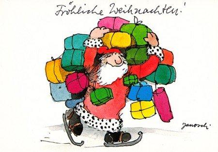 Janosch Weihnachtspostkarte Bunt bepackter Weihnachtsmann