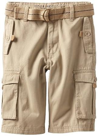 U.S. Polo Assn. Big Boys' Belted Washed Cargo Shorts, Light Khaki, 8