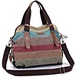 OSOPOLA M-1196 Leisure Canvas Top Handle Cross Body Bag Tote Handbags for Women