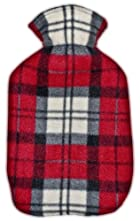 Warm Tradition Red, White and Black Plaid Fleece Covered Hot Water Bottle - Bottle made in Germany, Cover made in USA