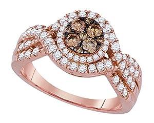1 cttw 14k Rose Gold Cognac Brown Diamond Halo Promise Engagement Ring ((L0500) Womens Size 5)