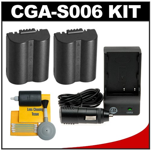 (2) CTA CGA-S006 Rechargeable Li-ion Batteries + Mini Battery Charger + Cleaning Kit for Panasonic Lumix DMC-FZ7, FZ8, FZ18, FZ28, FZ30 & FZ50 Digital Cameras