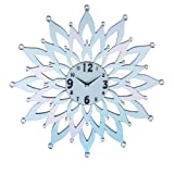 Importwala Metal Mirrored Accent Round Flower Wall Clock - (65cms Dia,Black & Mirror)