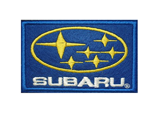 Subaru Iron On Patch * Lot Of 2 Pieces * Embroidered Grand Prix Motif Applique F1 Formula One Race Sports Car Motorsports Decal 3.5 X 2.2 Inches (8.8 X 5.5 Cm)