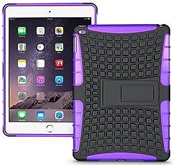 Heartly Flip Kick Stand Hard Dual Armor Hybrid Bumper Back Case Cover For Apple iPad Mini Tablet 1st Generation - Purple