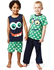 2 Pack Pure Cotton Geek Face & Star Pyjamas