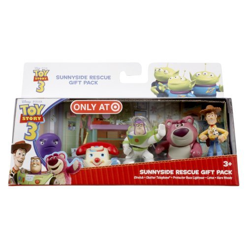 Buy Low Price Mattel Disney Toy Story 3 Exclusive 5 Piece PVC Mini Figurine Collector Set Sunnyside Rescue Stretch, Chatter Telephone, Protector Buzz Lightyear, Lotso & Hero Woody Figure (B00314XV8U)