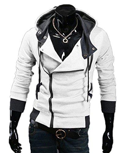 (ミネトメ)Minetom 男性 メンズ 春秋  パーカー ジャケット コート ロールプレイング 2襟  重ね着風 パーカ 7色 7サイズ選択可能 ( ホワイト L )