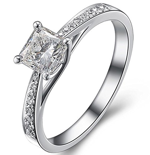 0.58 Carat Classic Cheap Engagement Ring for Women with Princess cut Diamond on 18K White gold