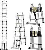 Masko® 3.80m Teleskopleiter Multifunktionsleiter Aluleiter...