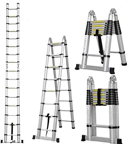 Masko-Teleskopleiter-Multifunktionsleiter-Aluleiter-Klappleiter-Anlegeleiter-Lnge380m-Multi