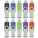 ARETOP USBフラッシュメモリ 8GB 回転式 10個パック ミックスグカラー(赤、緑、黒、青、紫) [並行輸入品]
