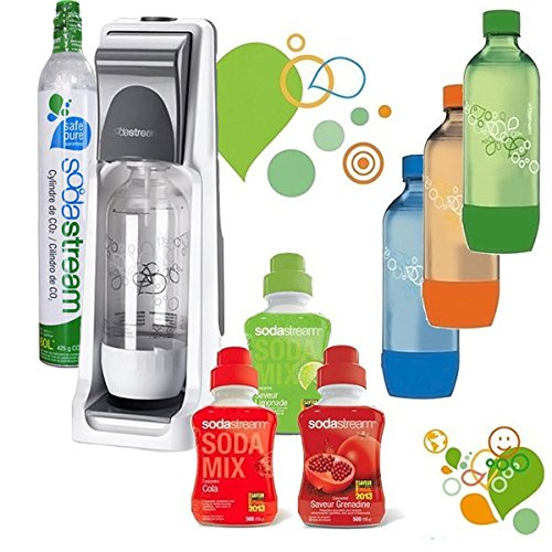 Sodastream - pack sodacoolt - Machine à gazéifier l'eau avec 1 cylindre et 4 bouteilles (dont 3 colorées) + 3 concentrés