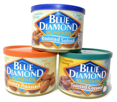 Blue Diamond Almonds Variety Pack - Toasted Coconut, Honey Roasted, Roasted Salted (3 X 6 Oz Can Combo)