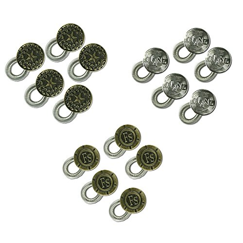 15-pack Waistband Extender - Spring Button with 3 Engraved Designs - Elastic with Sturdy Spring (Belt Loops To Sew compare prices)