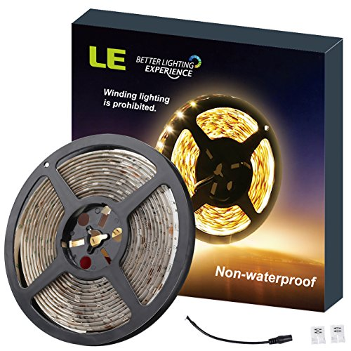 LE 16.4ft 12V Flexible LED Strip Lights, 3000K Warm White, 82 Lumens / 1.5 Watts per foot, 300 Units 3528 LEDs, Non-waterproof, Light Strips, LED Tape, Pack of 16.4ft/5m (Slim Led Light Strip compare prices)