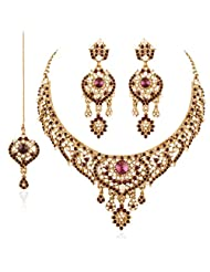 I Jewels Traditional Gold Plated Wedding Necklace Set With Maang Tikka For Women M4039Pu (Purple)