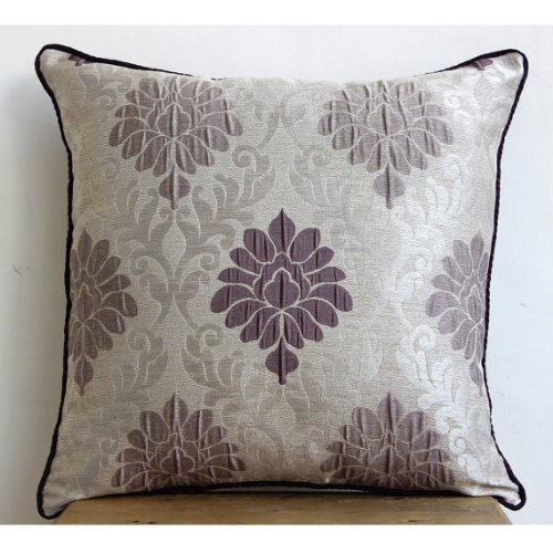 Lavender Damask - 24X24 Inches Square Decorative Throw Lavender Damask Sham Covers With Lavender Design front-900692