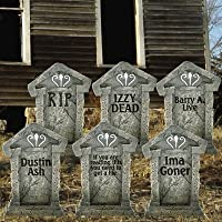"""Fake Tombstones - Halloween Yard Decoration - Set/6, 21.3"""" x 14.8"""" by VictoryStore"""