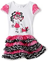Rare Editions Girls 2-6X Tutu Dress, White/Fuchsia/Black, 4