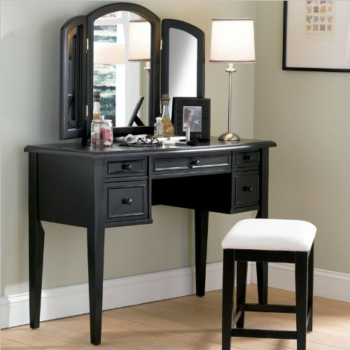 Antique Black Terra Cotta Vanity, Mirror & Bench Set