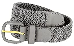 Luxury Divas Gray Braided Elastic Stretch Belt Size Large