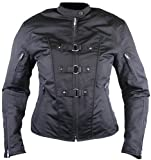 Ladies Black Fabric Triple Loop Motorcycle Jacket w/ Removable Armor by NYC Leather Factory Outlet