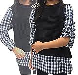 (メリット)R.meritto 【女の子 チェックシャツ】 ニット ベスト フェイクレイヤード 長袖シャツ 100 110 120 130 140 キッズ 長袖トップス ギンガムチェック b042 (130)