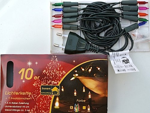 Mini-Lichterkette 10er Birnen color 220V Kabel grün XI11153