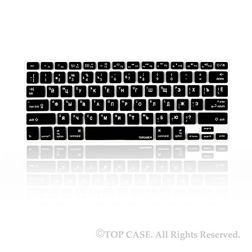 "Topcase Russian Letter Black Silicone Keyboard Cover Skin For Macbook 13"" Unibody / Macbook Pro 13"" 15"" 17"" With Or Without Retina Display / New Macbook Air 13"" / Wireless Keyboard + Topcase Mouse Pad - Russian/English"