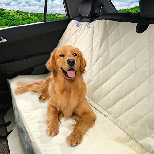 Pet Magasin Luxury Pet Seat Cover for Car Seats - Hammock Style Cover Protects Car Back Seats from Dog Fur, Mud, Scratches - New Beige (Dog Truck Seat Protector compare prices)