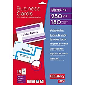 Decadry White Business Cards pk 180 PERFORATED Amazon