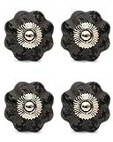 Knobs & Hooks Ceramic Cabinet Knob; Grey+Black; Set of four pieces