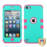 Product B00P4HLO9U - Product title For APPLE iPod Touch 5 Rubberized Teal/E-Pink TUFF Hybrid Case Cover MYBAT