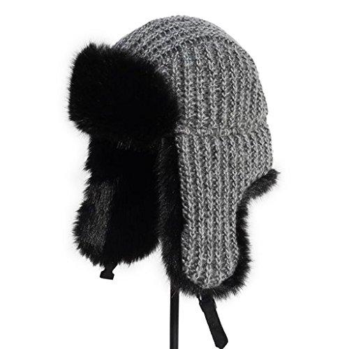 54983680c7f lethmik Winter Hats Faux Fur Hunting Trapper Hat Unisex Warm Aviator Bomber  Hat gray