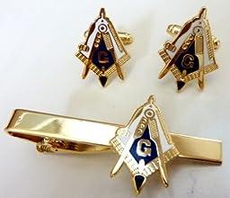Working Tools Trowel Gavel Master Masonry Masonic Freemason TIE BAR CUFFLINKS SET