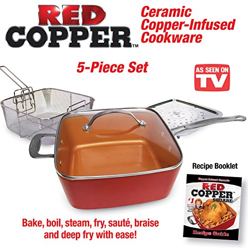 Red Copper Cookware Set - 5 pc (Red Pans compare prices)