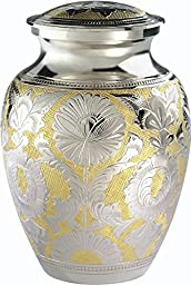 The UrnConcern® Classic Silver & Gold Urn, 7 inch Hand Engraved Solid Brass With Silver Lacquer Coat. Includes Velvet Storage & Display Box, 3
