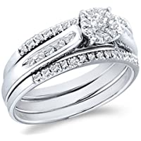 14k White Gold Diamond Ladies Womens Bridal Engagement Ring with 2 Matching Wedding and Anniversary Band Three 3 Ring Set Invisible Solitaire Style Center Setting with Side Stones Channel Set Round Brilliant Cut Diamond Ring 5mm (1/4 cttw, G - H Color, SI2 Clarity)