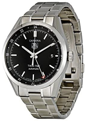 TAG Heuer Men's WV2115.BA0787 Carrera Calibre 7 Twin Time Automatic Black Dial Steel Bracelet Watch