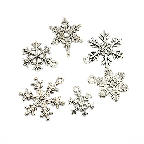 Beadthoven 5sets(30pcs) Mixed Vintage Tibetan Style Alloy Snowflake Pendants, Christmas Jewelry Charms Finding, Cadmium Free & Lead Free, Antique Silver