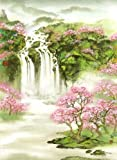 """Land of Waterfalls and Cherry Blossoms"" a Waterfall Landscape, Giclee Print of Original Sumi-e Landscape Painting, 13 x 20 Inches"