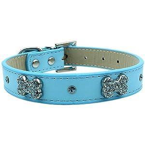 Parisian Pet Diamante Bones Dog Collar, Medium, Blue