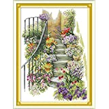Joy Sunday Cross Stitch Kits,Landscape Style,Flower Stairs,14CT Counted, 33cm×45cm or 12.87