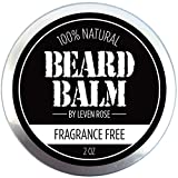 BEST Leven Rose Beard Balm - 100% Natural Leave In Conditioner with Natural Oils for Moustache Grooming and Beard Growing for Men - Fragrance Free Best Beard Oil Balm Unscented - 2 Oz - Vegan Friendly