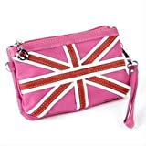 Cerise Union Jack Faux Leather Clutch/Bag AJ23921