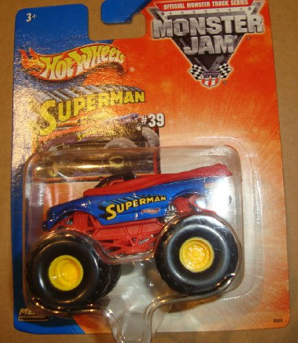 2003 1/64 (SMALL) HOT WHEELS MONSTER JAM SUPERMAN #39 MONSTER TRUCK DIE CAST