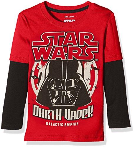 Star Wars Galactic Empire-Boys-LS T-Shirt, Maglia a Maniche Lunghe Bambino, Multicolore (Red/Black), 9-10 Anni (Taglia Produttore: X-Large)
