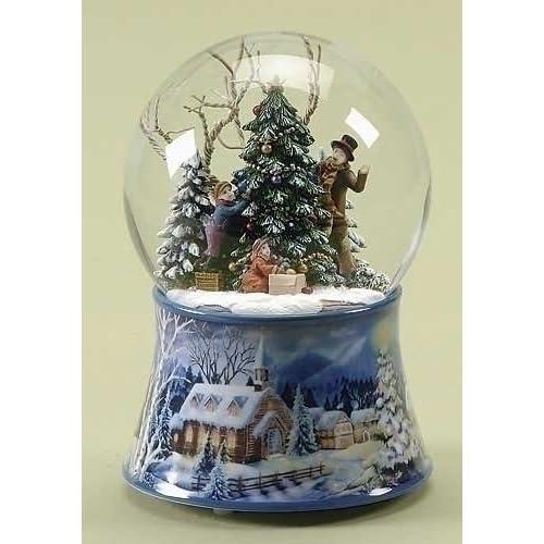 Musical Kids Decorating the Christmas Tree Snow Globe Glitterdome