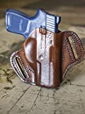 OUTBAGS LOB2P-P250SC Brown Genuine Leather OWB Open Carry Pancake, Side Carry Belt Holster for Sig Sauer P250 Sub Compact. Handcrafted in USA.